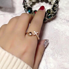 16 Styles Crystal Bowknot Flower Star Adjustable Ring Rose Gold Fashion Jewelry