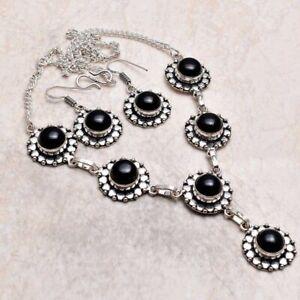 Black Onyx Ethnic Handmade Necklace+Earrings Jewelry 38 Gms AN 95157