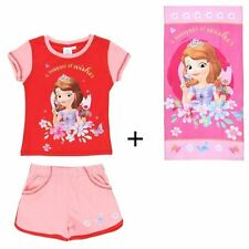 Ensemble short + tee-shirt Disney Sofia fille rose 5 ans + drap de plage neufs