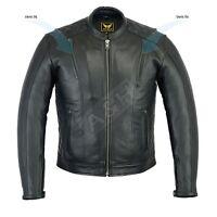 Men Genuine Cowhide Biker Vintage Motorcycle Cafe Racer Leather Jacket