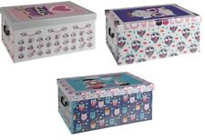 Cardboard Large Storage Boxes With Lid Storage Box Toy Box Handle Owl Design