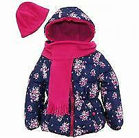 Pink Platinum Toddlers Girls Floral Print Puffer W/Hat & Scarf