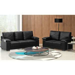 Modern 2/3 Seater Faux Leather Sofa Padded Settee Armchair Couch Home Office