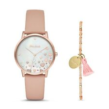 NEW w/ Tags FOSSIL Mon Amie Novelty Health Blush Leather Watch & Bracelet Set