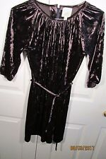 Peek Fleur Dress, Girl's XXL (12), Poly/spandex velvet, raglan sleeves,  belt
