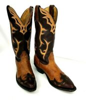 Silver Rebel Cowboy Western Womens Boots Sz 7C Tooled Brown/Tan Appliqued Canada