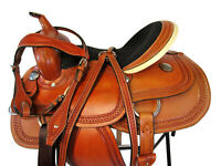 16 15 DEEP SEAT BARREL RACING SHOW TRAIL LEATHER HORSE PLEASURE WESTERN SADDLE