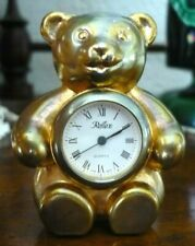 Miniature REFLEX Teddy Bear Clock Quartz Clock in Good Working Order.