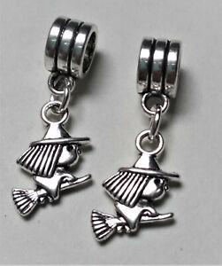 Brujitas charms plata pulsera europea y compatibles 2 unidades