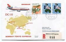 FFC 1974 Swissair Special Flight Bombay Tokyo Express REGISTERED Flughafen