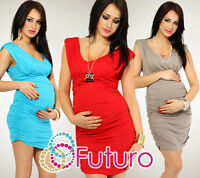 Maternity Women's Dress Tunic V-Neck Bodycon Pregnant Jersey Sizes 8-18 FT21