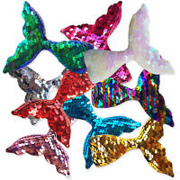 1pc Large Puffy Mermaid Tail Sequin Embellishment Applique Hair Craft Decoration