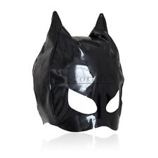 Dungeon Wheel Party Club PVC Wet Look Cat Ear Half Head Hood Mask Blindfold