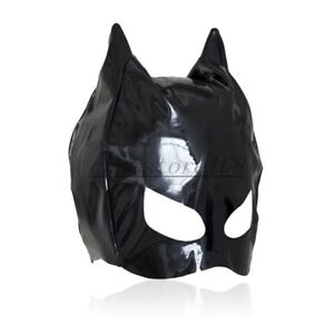 Dungeon Wheel Party Club PVC Wet Look Cat Ear Half Head Hood Cover Blindfold
