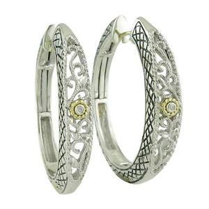 Andrea Candela 18k Sterling Diamond Vintage Cable Hoop Hinged Earrings ACE115/01