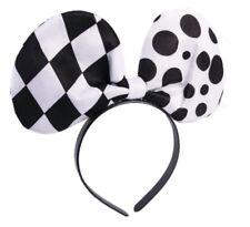 Harlequin Clown Bow Tie Headband Black White Checker Polka Dot Costume Accessory
