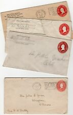 Us Postal Stationery 2c Entire Used Envelopes Lot of 4 1899 & 1906-1916