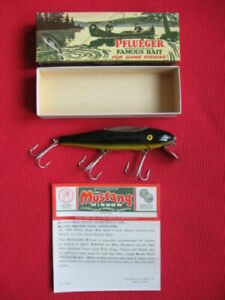 """Rare Vintage Pflueger Mustang 5"""" Wood Eel Finish Fishing Lure - NIB w/Paperwork"""