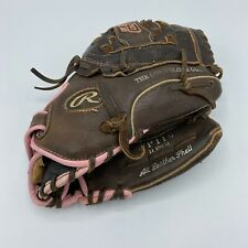Rawlings FP11011 Inch Girls Fast Pitch Softball Glove RHT Brown With Pink Trim