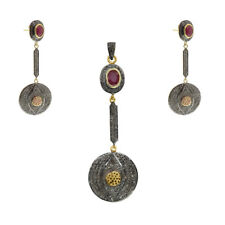 Yellow Gold Plated Victorian Dangle Earring Pendant Set Silver Jewelry For Women