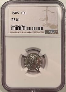 1906 PROOF BARBER DIME - NGC PF-61, WHITE & LOOKS CAMEO!