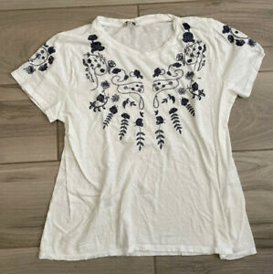 Lucky Brand Blue Embroidered Short Sleeve Tee T-shirt Size XL