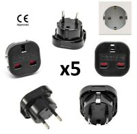 5x UK English to EU Euro European Travel Adaptor Plug BS CE Approved