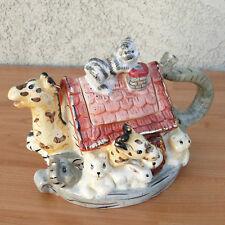Wang's Noah's Ark Ceramic Figural Teapot Elephant Giraffe Lion Zebra Kitty Cat