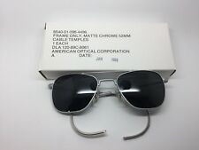 1989 American Optical Corporation Aviator Sunglasses Matte Chrome Frame 52mm
