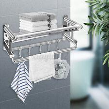 Wall Mounted Towel Rack Holder Hook Hanger Bath Shelf Rail Storage Bathroom US
