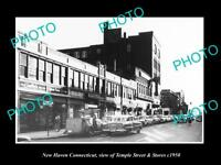 OLD LARGE HISTORIC PHOTO OF NEW HAVEN CONNECTICUT, VIEW OF TEMPLE ST STORES 1950
