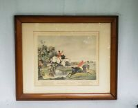 "Vintage ""Batchelors Hall Plate 2"" Framed/Matted Fox Hunting Horse Print"