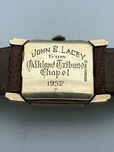 1952 LONGINES ART DECO OAKLAND TRIBUTE CA CAL 10K GOLD FILED ORIGINAL DIAL RUNS