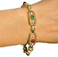 "18K Yellow Gold Diamond Ruby Emerald Cabochon Massive Vintage Retro Bracelet 7"""