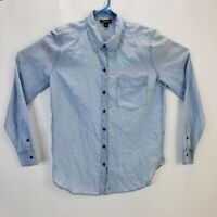 Lucky Brand Women's Light Blue Soft Long Sleeve Button Up T-Shirt Ladies Small