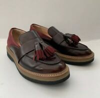 Clarks Burgundy Leather & Suede Ladies Flat Loafers Tassel Detail UK 4 EU 37