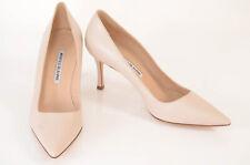 Manolo Blahnik nude beige 8 38 leather point toe slip on pump shoe NEW $625