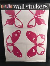 12 Large Pink Butterflies Wall Stickers