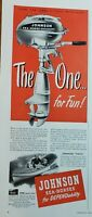 Lot of 3 Vintage Johnson Outboard Boat Motor Print Ad The One for Fun!