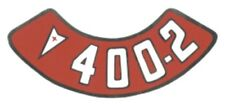 Pontiac 400-2V Air Cleaner Decal, Red & White on Silver