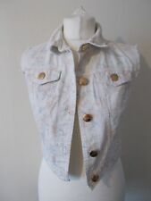 Women's   Green Peach Flower Sleeveless Jacket By YES YES New Look Size 10