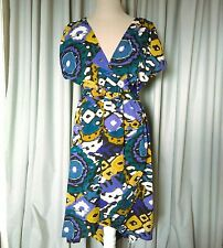 Angie Sz M Teal Purple Gold White Boho Hi Low Dress Ikat Print