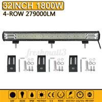 "32"" Inch Quad-row LED Work Light Bar Spot Flood Truck Offroad Driving Fog"