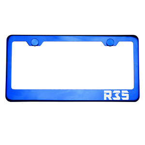Blue Chrome License Plate Frame R35 Laser Etched Metal Screw Cap