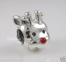 RED-NOSED Santa REINDEER Genuine PANDORA Silver/Enamel CHRISTMAS Charm/Bead NEW