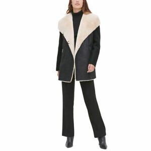 CALVIN KLEIN Women's Faux-fur Wool Blend Boucle Jacket Top TEDO