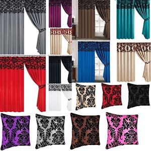 PLAIN LUXURY DAMASK READY MADE FULLY LINED CURTAINS PENCIL PLEAT FAUX SILK LOOK