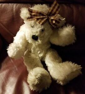 """8""""  Teddy Bear White soft and fluffy with out brand tag VG condition Headband"""