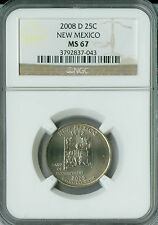 2008-D NEW MEXICO QUARTER NGC MS 67 2ND FINEST BUSINESS STRIKE .