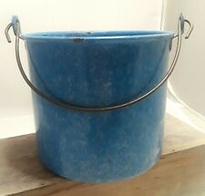Antique Blue Graniteware Berry Pail/Lunch Bucket w/Orig. Handle Farm Collectible